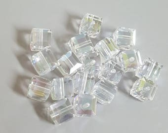Swarovski 6mm Faceted Crystal Cube (5601) Bead - MOONLIGHT 'B' - Select 6 or 12 Beads