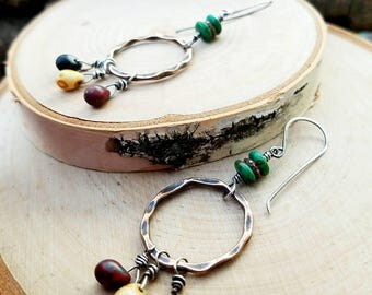 Earthy BOHO Earrings, Mixed Metals-Gorgeous Czech Glass Beads-Antique Copper-Sterling Silver-Wire Wrapped-Handcrafted-Handmade-One Of A Kind