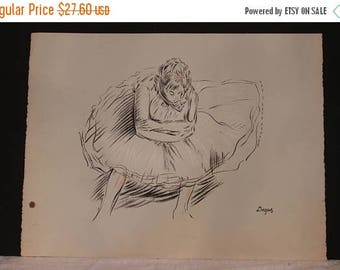 """Christmas in July Vintage Charcoal Sketch Lithograph by Degas - 20"""" by 26"""""""