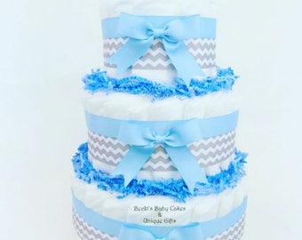 Baby Boy Shower Centerpiece, Blue and Gray Diaper Cake, Diaper Cake, Baby Shower Centerpiece, Diaper Centerpiece, Baby Shower Diaper Cake