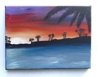 Original acrylic painting, beach painting, sunrise picture, paradise painting, sunset painting, beach picture, 8x12 wall art, wall decor