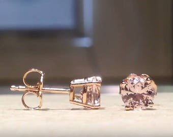 1.00 Carat Round Pink Morganite Stud Earrings in Solid 14K Rose Gold (HD Video Available)