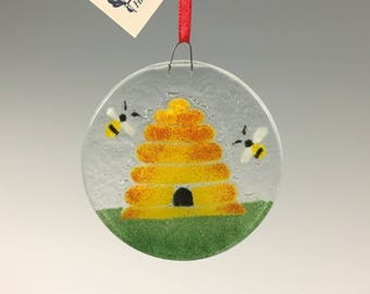 Honey Bee Skep Ornament Bee Hive
