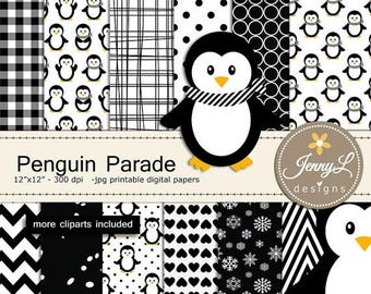 50% OFF Penguin Digital Paper and Clipart, Winter Snow Penguins for Baby Shower, Birthday  and Scrapbooking Paper Party Theme,