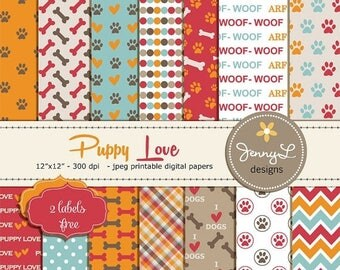 50% OFF Dog Digital papers, Pet Digital Paper, Paws Scrapbooking Papers, Dog Bones, I Love Dogs, Animal Digital Papers, Puppy Love