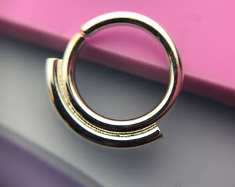 Simplicity Septum Ring - Solid Sterling Silver - Daith Rook Helix Piercing Nostril