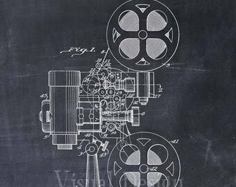 Motion Picture Projector Patent Print Movie Film Patent Art Print