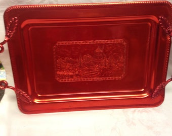 Aluminum Tray with Red Metalic Finish   Christmas Serving Tray