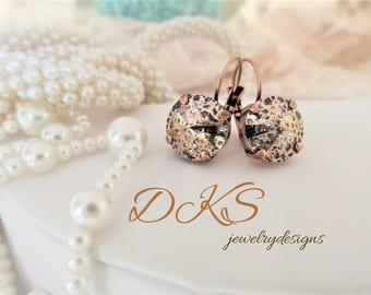 Rose Patina, Swarovski Crystal 12MM Lever Back Earrings, Copper Setting, Drops, Dangles, DKSJewelrydesigns, FREE SHIPPING