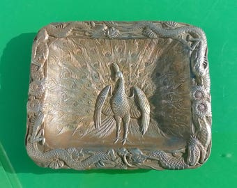 Antique 1910 Japanese Spelter Dish Featuring Peacocks & Dragons