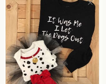 Dalmatian Who Let the Dogs Out Mommy and Me Halloween Costume .. Children's Dalmatian Onesie .. Baby Girl and Big Sister Matching Costume