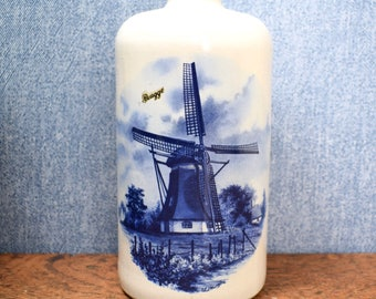 Vintage stoneware bottle, Dutch windmill, Delft design