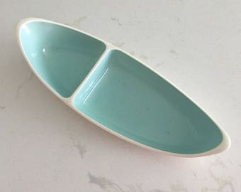 Teal Taylor Smith and Taylor Relish Dish Condiment Tray Matches Boutonnière Mid Century