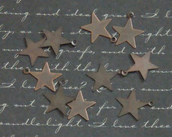Star 10 charms 13x16mm coppered metal