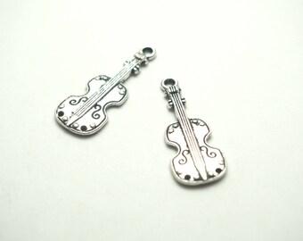 2 silver 28x11mm violin charms