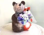 Bride and Groom cake topper wedding cake topper bride and groom bear red fox bear and fox spring wedding bouquet blue summer flowers purple