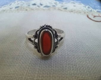 Vintage Ring Coral Sterling Silver  Oval setting Boho Ring 925 Silver