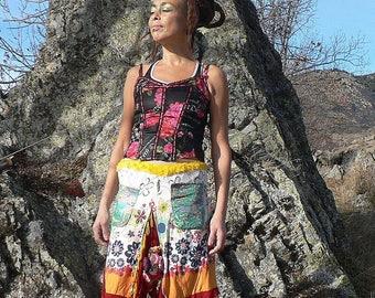 flowery cotton patcwhork skirt