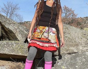 short colorful summer patcwhork skirt