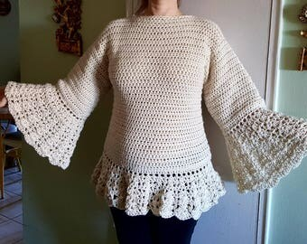 Women's crochet sweater,Crochet bell sleeve sweater, made to order sweater, elegant woman's sweater, bell sleeve sweater, exclusive design!