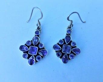 Amethyst Faceted  Sterling Silver Drop Earrings