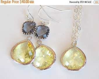 SALE Wedding Jewelry Set, Yellow and Grey Earrings and Necklace, Sterling Silver, Citrine, Soft Yellow, Gray, Bridesmaids Set, Gifts, Dangle