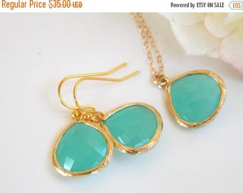 SALE Wedding Jewelry, Mint Earrings and Necklace, Set, Mint Blue, Soft Mint, Light Mint, Gold Filled, Bridesmaid Jewelry, Pendant, Brides Gi