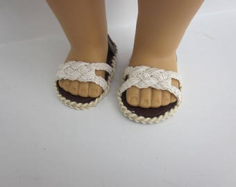 """Ivory knotted strap sandals for 18"""" dolls such as American Girl"""