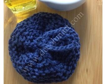 Eponge japonaise tawashi zéro déchet  réalisée à la main  en fil de lin et de coton bleu foncé