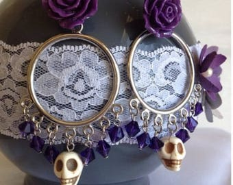 Day of the Dead Hoop Earnings (Purple) Style 1