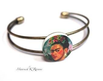 bronze bracelet, adjustable, wood, 2cm, unique cabochon!