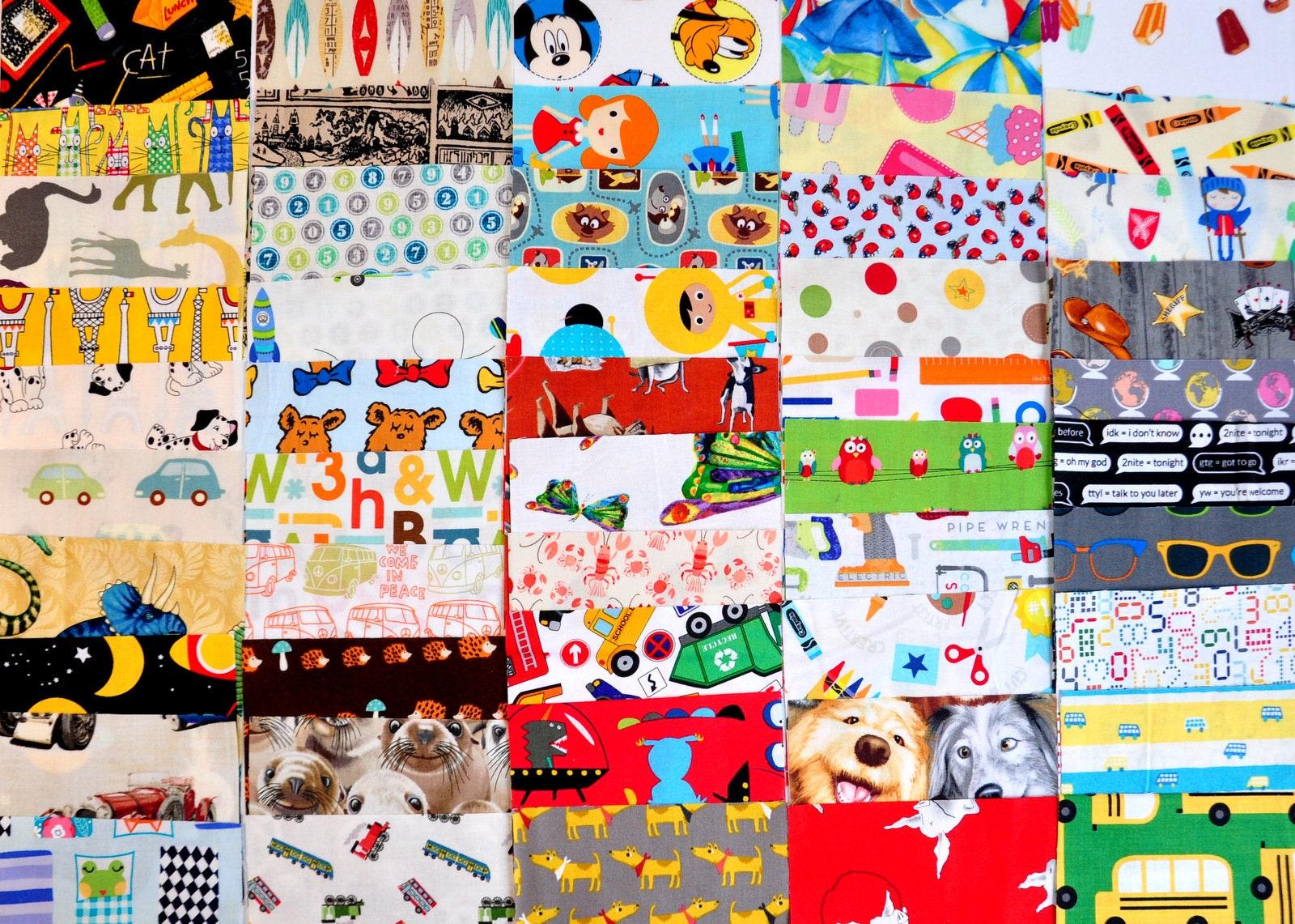 Destash charm pack i spy novelty fabric children kids 50 for Novelty children s fabric