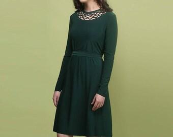 Modest Dress, Long Sleeve Dress, Emerald Green Dress, Dark Green Dress Midi Dress A Line Dress Tea Length Dress Spring Dress Plus Size Dress