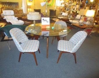 Mid-Century Modern  Adrian Pearsall Dining Table for Craft Associates Inc. Dining Table with Set of 3 Scoop Chairs