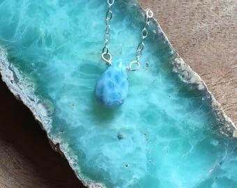 Larimar Necklace Sterling Silver or Gold  - Raw Larimar Necklace -  Larimar Jewelry - Larimar - Stone Necklace - Larimar Pendant - Dainty