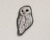 Hand embroidered owl patch, white owl, snow owl