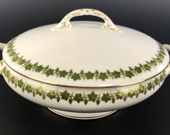 MARTIN LIMOGES Covered Vegetable Gilded Grapevine Decoration Circa 1920
