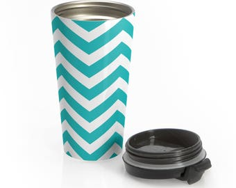 Blue Chevron Stainless Steel Travel Mug