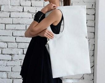 SALE Large White Leather Bag/Rectangle Shape Tote/Extravagant Maxi Bag/White Handbag/Oversize White Shoulder Bag/Adjustable Strap Bag/Maxi B