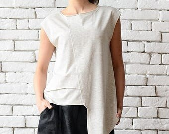 ON SALE Off White Asymmetric Top/Extravagant Sleeveless Tunic/Light Grey Casual Vest/Modern Tail Top/Loose Tunic Top/Plus Size Sleeveless Sh