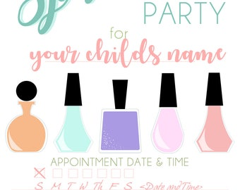 Spa Themed Party Invitation card/ 4x6 / 5x7/ DIY invitation/ printable