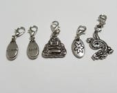 Zen Buddha (Set of 5) Knitting Progress Keepers, lobster clasp stitch markers SM0008