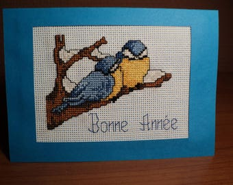 Happy new year card embroidered cross stitch: lucky pair of birds