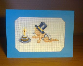 Birthday card to celebrate the 1 year of the youngest, embroidered in cross stitch