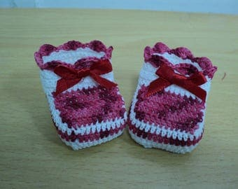 Pair of booties, birth, baptism keepsake gift, cherry red and white