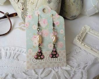 Vintage bronze and Pearl Earrings