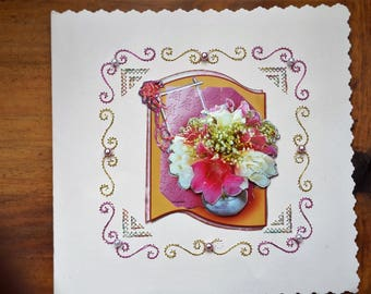 bouquet of pink and white - hand made 3D card