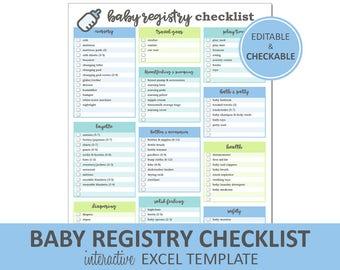 Baby Registry Checklist - Editable Blue - Printable | Excel Baby Registry Template | Baby Shower Gift Registry | Instant Digital Download