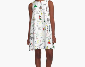 Science Lab A-Line Swing Dress Trapeze Dress  Print Abstract Ocean Tropical XS S M L XL 2XL Woman Teen Wearable Art Clothing Clothes