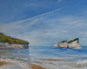 Original Oil Paintings of Greece, Original Fine Art, Painting of Sea, Seascape Paintings, Small Paintings by Dagmara Zareba